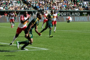 Two late first half goals by New York Red Bulls sink Timbers 2-0