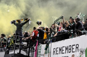The Timbers Army celebrates the the victory and advancing to the next round of the 2015 MLS playoffs.
