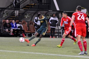 Dairon Asprilla scored on this shot to put the Timbers up 2-0