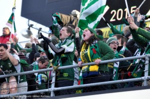 Timbers Army celebrates the second goal
