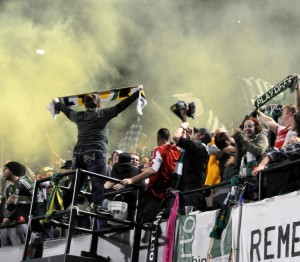 Timbers Army celebrating the 11-round PK win over SKC